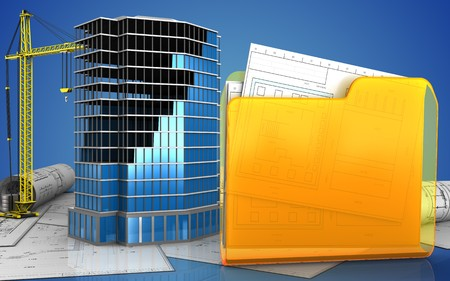 3d illustration of office building construction with crane over blue background