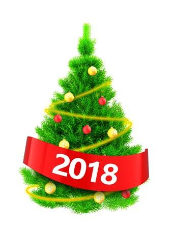 Illustration 3D de l'arbre de Noël vert fluo sur fond blanc Banque d'images - 88348616