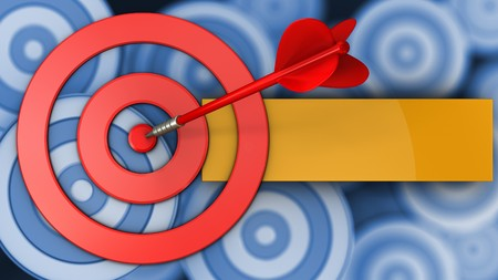 dart board: 3d illustration of target circles with red dart over many targets background