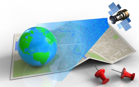 3d illustration of map paper with earth and satellite digital signal