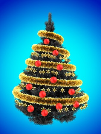 tinsel: 3d illustration of gray Christmas tree over blue with red balls and frippery