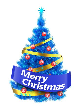 3d illustration of blue Christmas tree with blue stars over white background Stock Photo