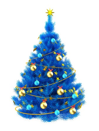 3d illustration of blue Christmas tree with golden stars over white background