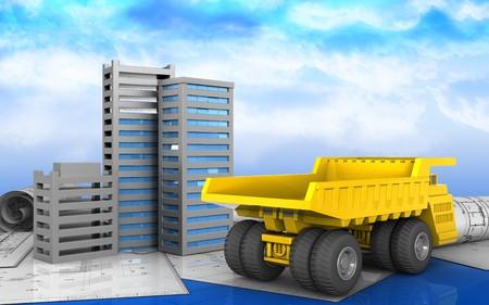 Illustration 3d des Stadtgebäudebaus über Himmelhintergrund