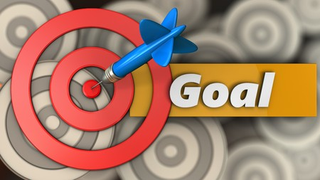 3d illustration of target circles with goal sign over multiple targets background