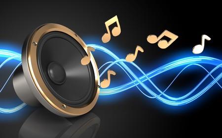 3d illustration of loud speaker over sound wave black background with notes