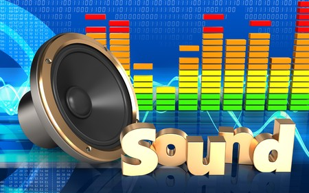 3d illustration of loud speaker over cyber background with sound sign Stock Photo