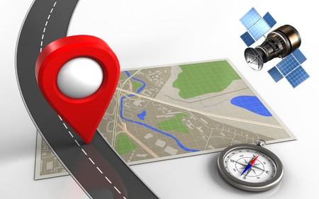 3d illustration of map with location pin and compass