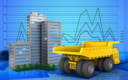 3d illustration of living quarter over graph background