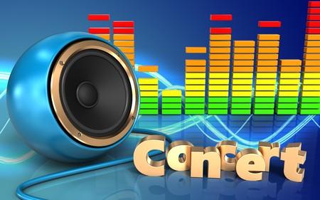 3d illustration of blue sound speaker over sound background with concert sign