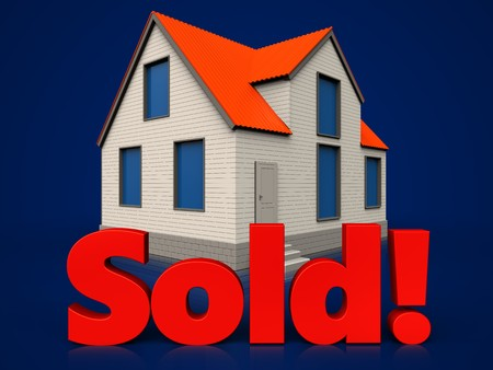 3d illustration of cottage house with sold sign over dark blue background