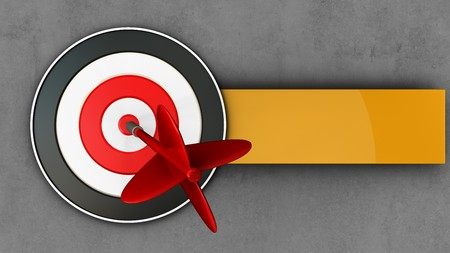 3d illustration of target with dart over concrete background