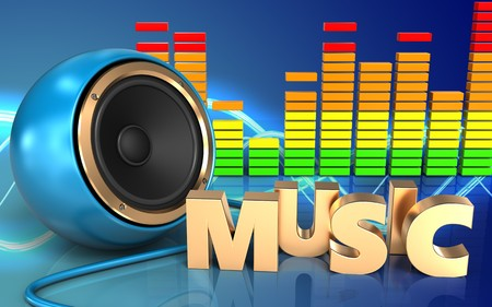 3d illustration of blue sound speaker over sound background with music sign