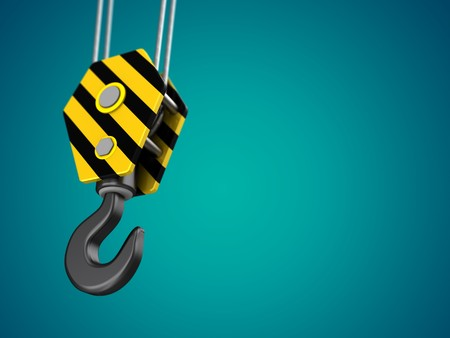 3d illustration of yellow crane hook over green background Stock Photo