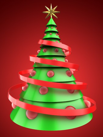 8 ball: 3d illustration of light green Christmas tree over red background with red balls