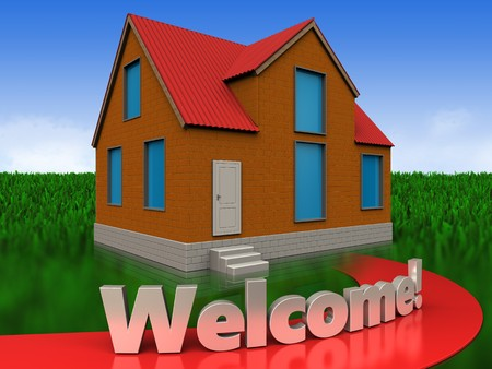 3d illustration of cottage with welcome sign over meadow background