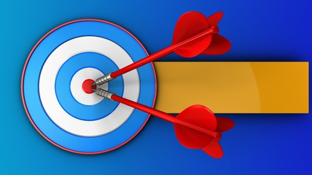 dart board: 3d illustration of blue target with two darts over blue background