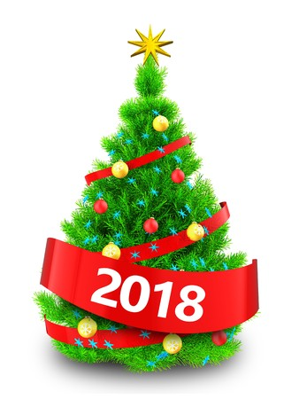 3d illustration of neon green Christmas tree with red ribbon over white background