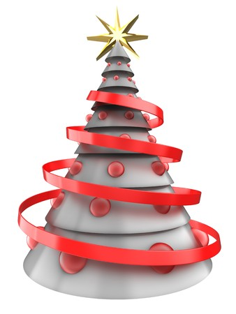 8 ball: 3d illustration of white Christmas tree over white background with red balls