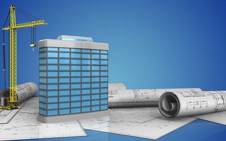 3d illustration of generic building with crane over blue background Stock Photo