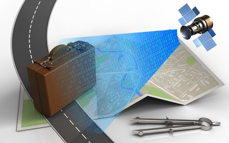 3d illustration of map paper with luggage and circle tool