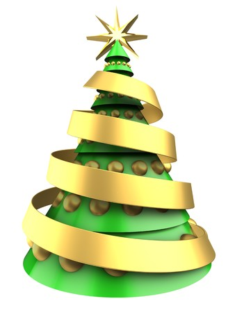 3d illustration of light green Christmas tree over white background with golden balls