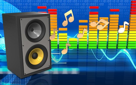3d illustration of sound system over cyber background with notes Stock Photo