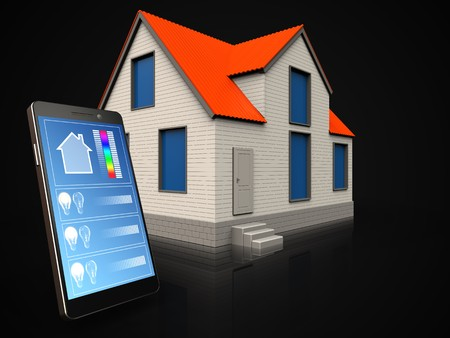 3d illustration of cottage house with phone application over black background Stok Fotoğraf