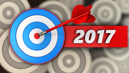 3d illustration of blue target with 2017 year sign over multiple targets background Stock Photo