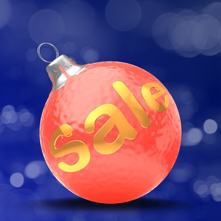 3d  Christmass ball over bokeh blue background with sale sign Zdjęcie Seryjne