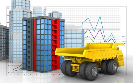 3d illustration of building with urban scene over business graph background