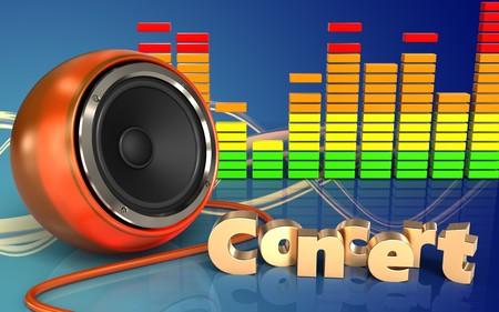 3d illustration of orange speaker over wave blue background with concert sign