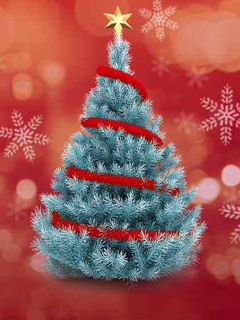 3d  blue Christmas tree over red and snow background with red tinsel and golden star