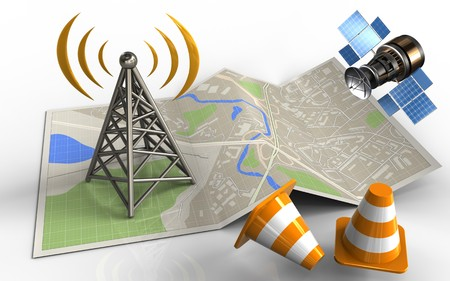 3d illustration of map paper with antenna and gps satellite Stock Photo