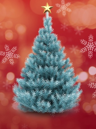 3d   Christmas tree over red and snow background with golden star
