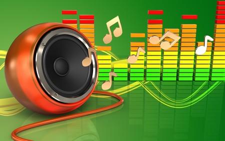 3d illustration of orange speaker over green background with notes