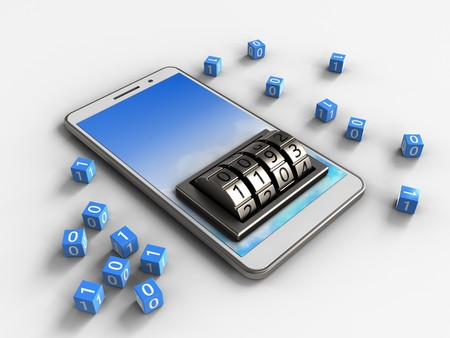 3d illustration of white phone over white background with binary cubes and lock dial Stock Photo