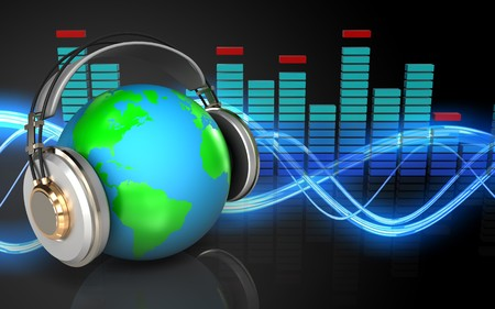 3d illustration of earth in headphones over sound wave black background Stock Photo