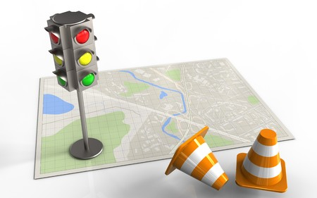 3d illustration of bright map with traffic light and