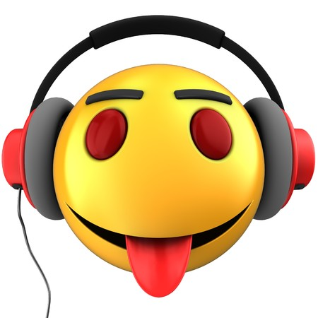 3d illustration of yellow emoticon smile with red headphones over white background Stock Photo