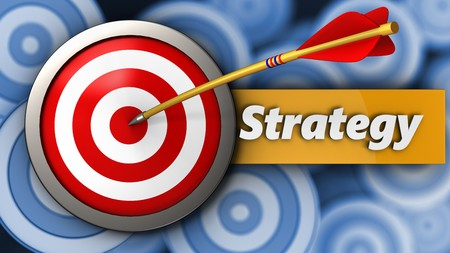 3d illustration of target with strategy over many targets background Stock Photo