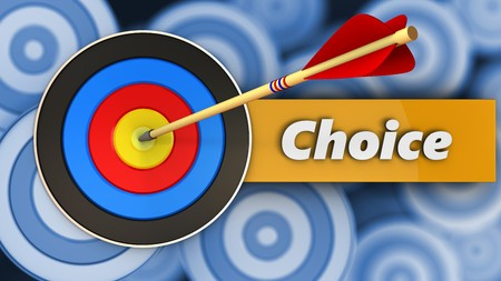 3d illustration of target with choice over many targets background