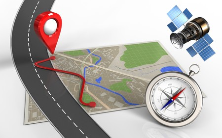 routing: 3d illustration of map with route and compass Stock Photo