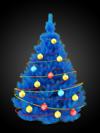 3d illustration of blue christmas tree with red decorations over black background stock illustration 88603100