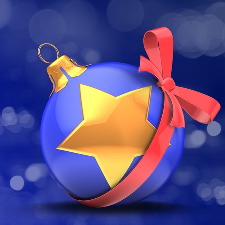 3d blue Christmas ball  over bokeh blue background with golden star and red bow