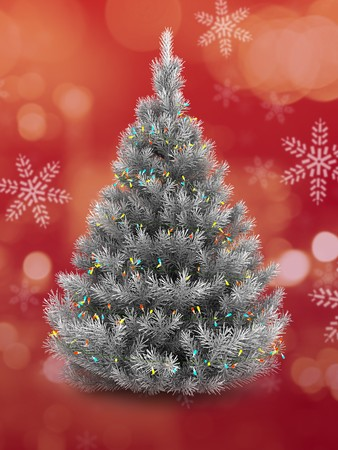3d   silver Christmas tree over red and snow background Banco de Imagens