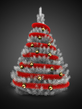 3d   silver Christmas tree over gray background with red tinsel and golden balls Zdjęcie Seryjne