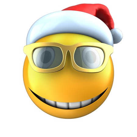 3d illustration of yellow emoticon smile with christmas hat over white background Stock Photo