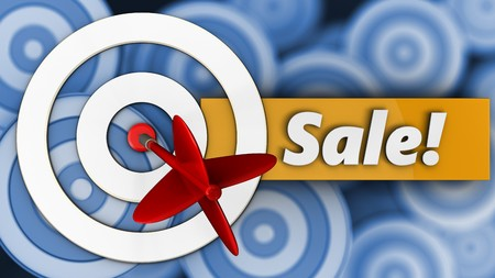 3d illustration of white taget with sale over many targets background