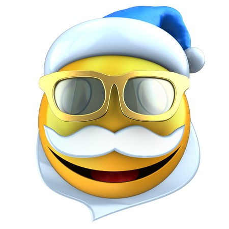 3d illustration of yellow emoticon smile with Christmas hat over white background